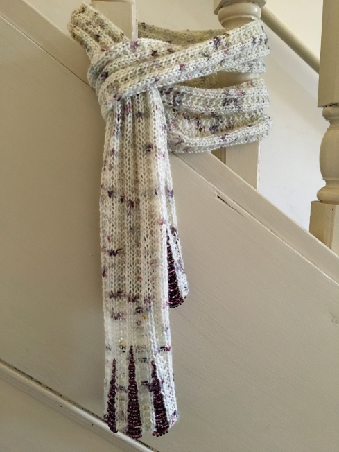 beaded knit scarf