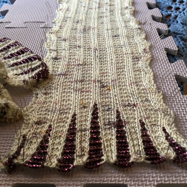 beaded scarf blocking
