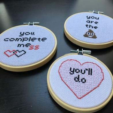 valentines day cross stitch snarky cross stitch hoop art finished cross stitch